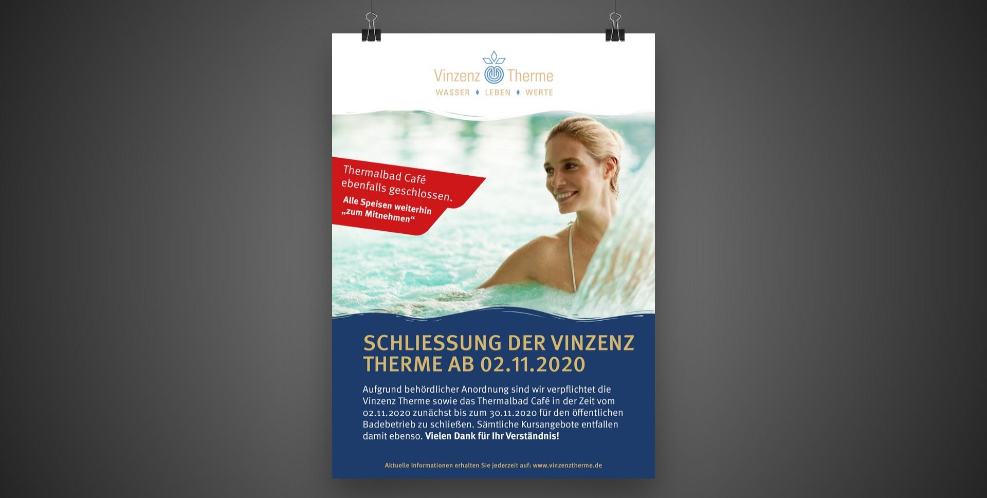 Schließung der Vinzenz Therme sowie des Thermalbad Café ab 02.11. bis 30.11.2020